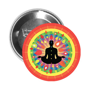 Round Pinback Button Pin Brooch Zen Yoga Yogi with Rainbow Chakras Cartoon Icon