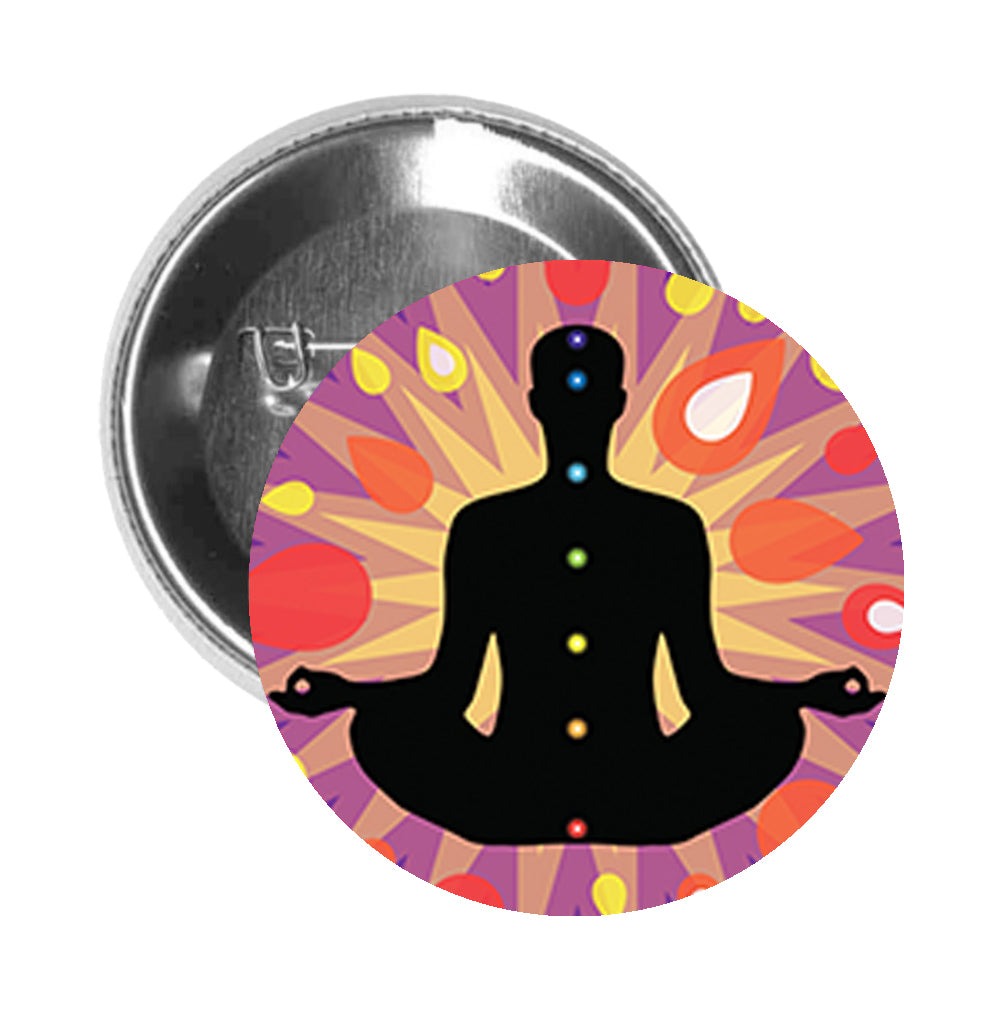 Round Pinback Button Pin Brooch Zen Yoga Yogi with Rainbow Chakras Cartoon Icon - Zoom