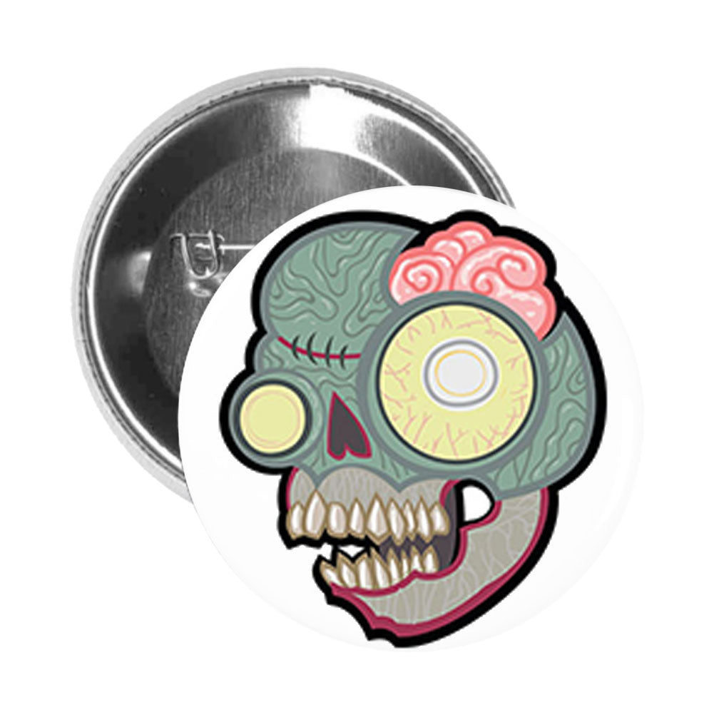 Round Pinback Button Pin Brooch Zombie Animal Skull with Brains
