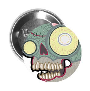Round Pinback Button Pin Brooch Zombie Animal Skull with Brains - Zoom