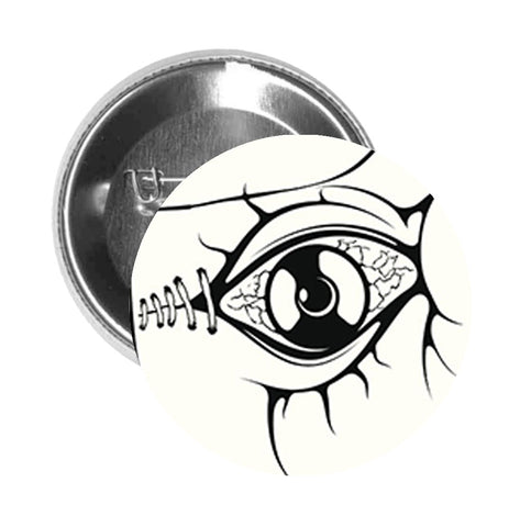 Round Pinback Button Pin Brooch Zombie Frankenstein Hand with Eye in Palm - Zoom