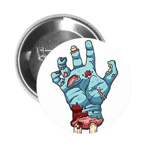 Round Pinback Button Pin Brooch Zombie Hand Dead Bone Bloody Stitches Gore Scary Undead Cartoon