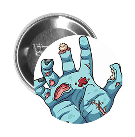 Round Pinback Button Pin Brooch Zombie Hand Dead Bone Bloody Stitches Gore Scary Undead Cartoon - Zoom