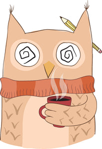 Zombie Owl Student with Coffee Cartoon #1 Vinyl Decal Sticker