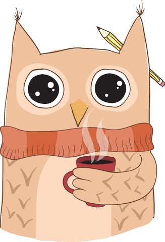 Zombie Owl Student with Coffee Cartoon #2 Vinyl Decal Sticker