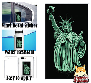 Zombie Skull Statue of Liberty with Tattoos Vinyl Decal Sticker