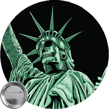 Zombie Skull Statue of Liberty with Tattoos 1.25 button pin backpin