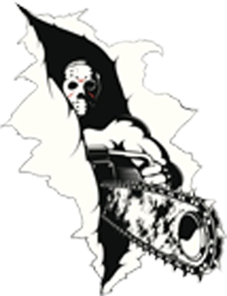 CRAZED KILLER WITH MASK AND CHAIN SAW RIPPING CUTTING THROUGH Vinyl Decal Sticker