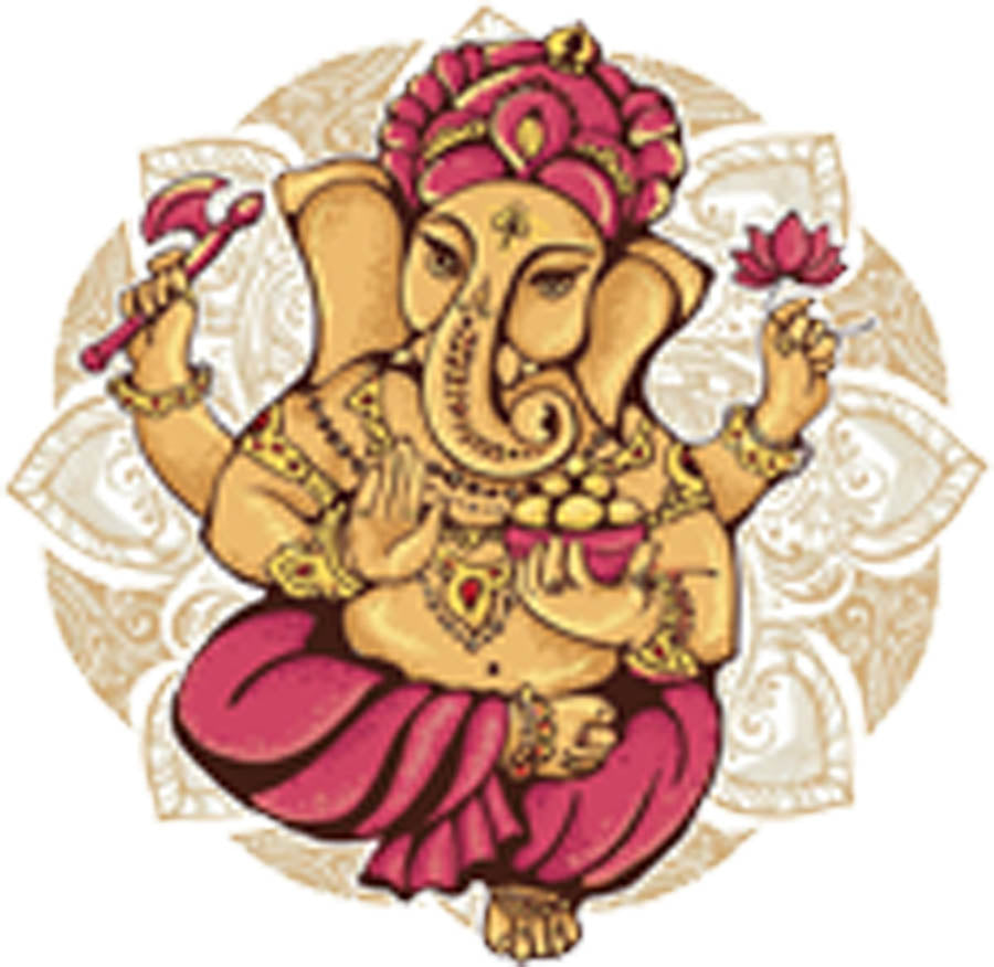 Indian Elephant Goddess Ganesha with Mandala Flower Vinyl Decal Sticker