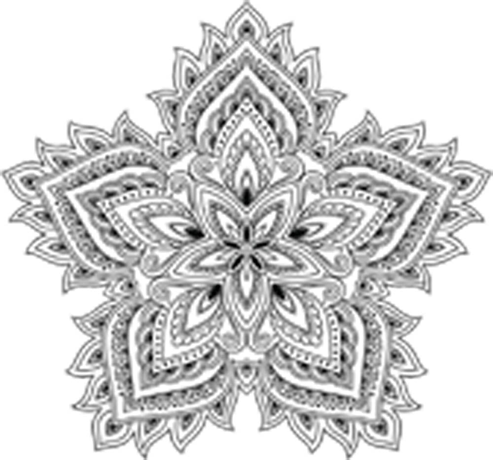 Pretty Black and White Paisley Petal Lotus Mandala Flower Vinyl Decal Sticker