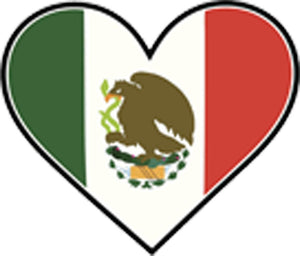 I Love Mexico Flag in Heart Vinyl Decal Sticker