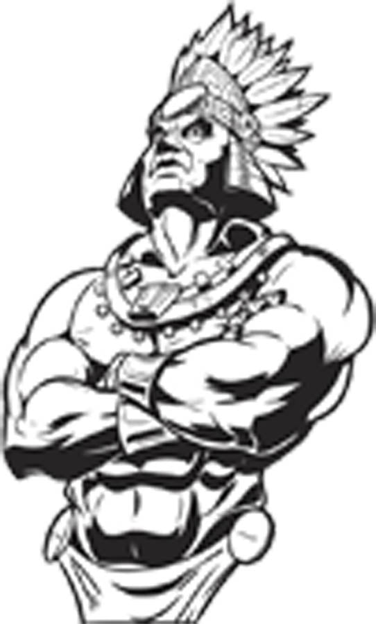 Powerful Buff Native American Indian Chief Cartoon - Black and White Vinyl Decal Sticker