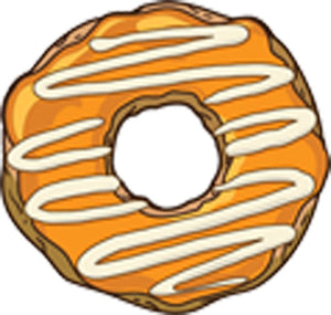 Cute Fun Traditional Donut with Icing Cartoon - Orange Vinyl Decal Sticker