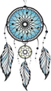 Pretty Aqua Blue Dream Catcher with Feathers Vinyl Decal Sticker