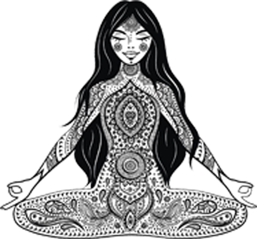 Pretty Black and White Zen Tribal Mandala Boho Gypsy Cartoon - Yoga Yogi Vinyl Decal Sticker