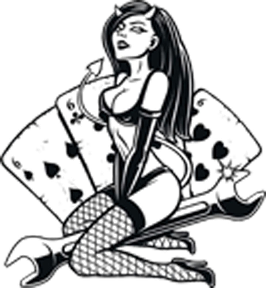 Sexy Devil Girl Pinup Model Wrench Cartoon - Cards Vinyl Decal Sticker