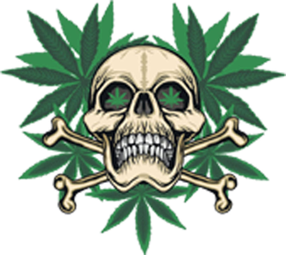 Skull And Cross Bones With Cannabis Weed Background Cartoon Vinyl Decal Sticker
