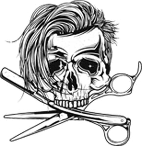 Skull Barber Shop with Scissors and Razor Edgy Haircut Black and White Classic Cartoon Vinyl Decal Sticker