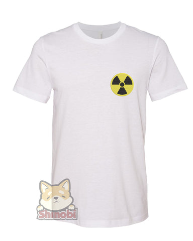 Small & Extra-Small Size Unisex Short-Sleeve T-Shirt with Toxic Nuclear Hazardous Waste Icon Embroidery Sketch Design