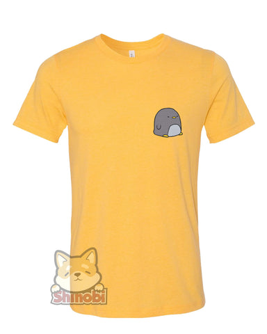 Medium & Large Size Unisex Short-Sleeve T-Shirt with Simple Cute Kawaii Nursery Animal Cartoon - Penguin Embroidery Sketch Design
