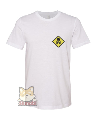 Small & Extra-Small Size Unisex Short-Sleeve T-Shirt with Toxic Skull and Cross Bones Signage Embroidery Sketch Design