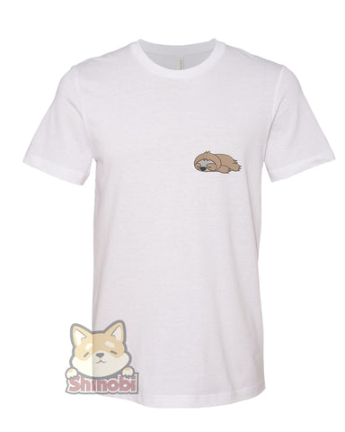 Medium & Large Size Unisex Short-Sleeve T-Shirt with Cute Sleepy Lazy Sloth Cartoon - Sloth Cartoon Embroidery Sketch Design