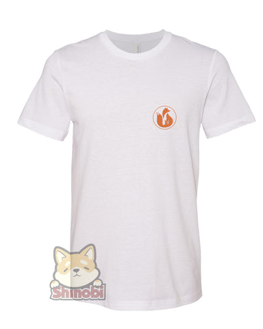 Medium & Large Size Unisex Short-Sleeve T-Shirt with Simple Orange Little Fox Silhouette Cartoon Icon Embroidery Sketch Design