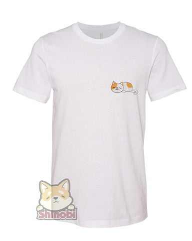 Medium & Large Size Unisex Short-Sleeve T-Shirt with Cute Sleepy Lazy Spotted Kitty Cat Cartoon - Cat Embroidery Sketch Design