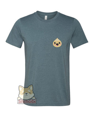 Medium & Large Size Unisex Short-Sleeve T-Shirt with Happy Japanese Food Dumpling Cartoon Emoji Embroidery Sketch Design