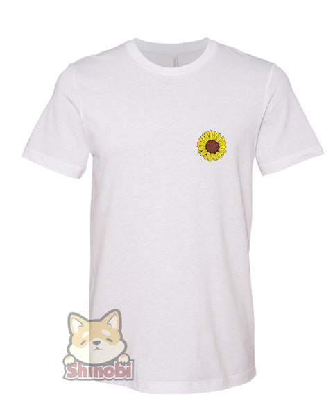 Medium & Large Size Unisex Short-Sleeve T-Shirt with Simple Pretty Yellow Sunflower Cartoon Embroidery Sketch Design