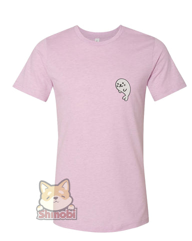 Medium & Large Size Unisex Short-Sleeve T-Shirt with Cute Playful White Baby Seal Cartoon Emoji #5 Embroidery Sketch Design