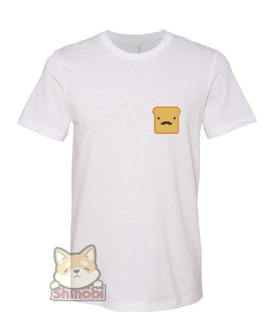 Medium & Large Size Unisex Short-Sleeve T-Shirt with Hipster Bread Slice with Mustache Embroidery Sketch Design
