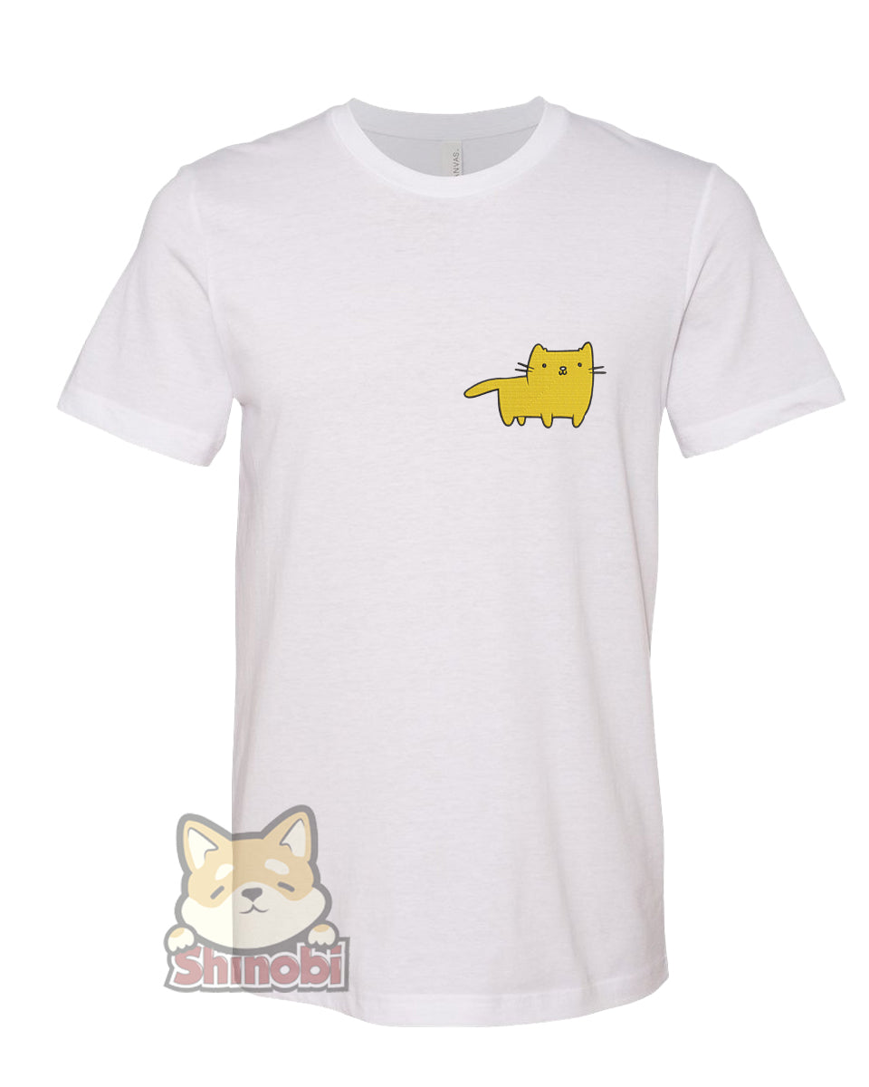 Medium & Large Size Unisex Short-Sleeve T-Shirt with Simple Cute Kawaii Nursery Animal Cartoon - Cat Embroidery Sketch Design