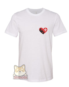Medium & Large Size Unisex Short-Sleeve T-Shirt with Cat Dog Bird Silhouette in Heart Icon for Pet Animal Lover Vet Embroidery Sketch Design