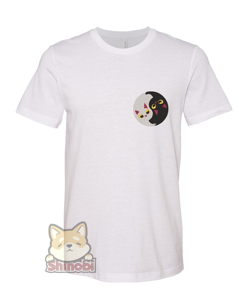 Medium & Large Size Unisex Short-Sleeve T-Shirt with Cute Fat Shiba Inu Fox Puppy Dog Trotting Prancing Kawaii Cartoon Emoji Embroidery Sketch Design