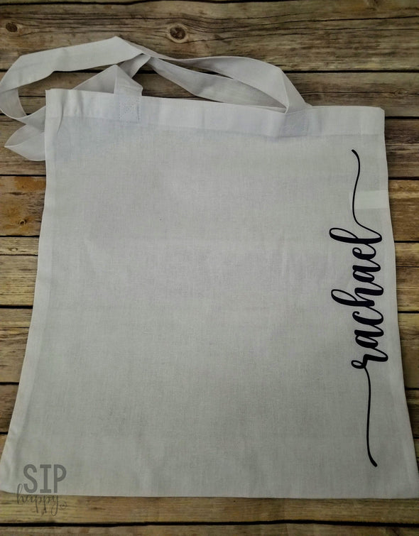 Lower Case Script Personalized Tote Bag