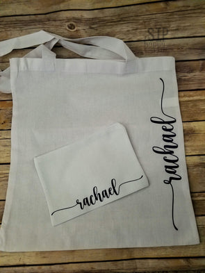 Matching Personalized Tote & Cosmetic Bag