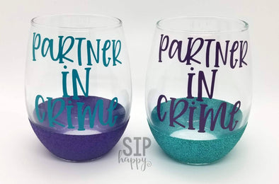 Partner In Crime Wine Glass