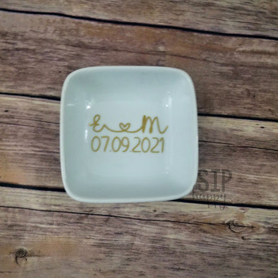 Initial & Date Ring Dish