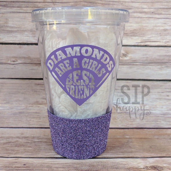 Ready To Ship Diamonds Are A Girl's Best Friend Glitter Tumbler - Lavender