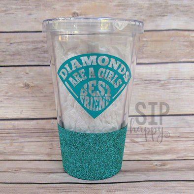 Ready To Ship Diamonds Are A Girl's Best Friend Glitter Tumbler - Turquoise