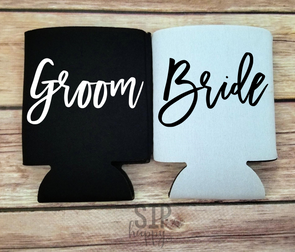 Bride & Groom Can Coolers