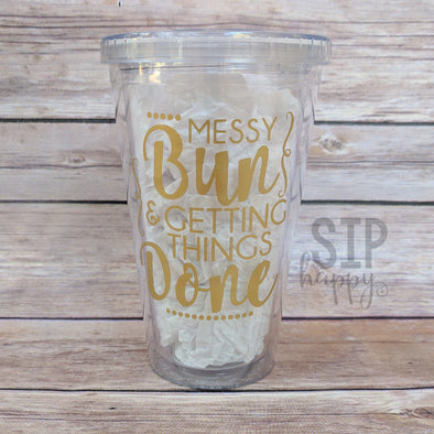 Ready To Ship Messy Bun Tumbler - Gold