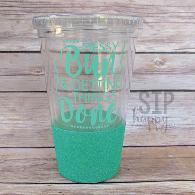 Ready To Ship Messy Bun Glitter Tumbler - Mint