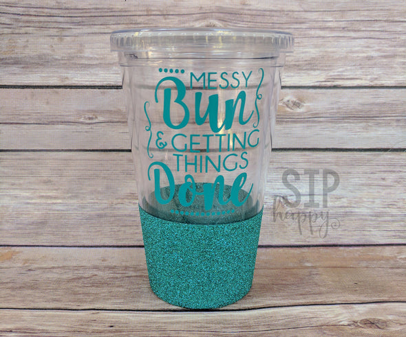 Ready To Ship Messy Bun Glitter Tumbler - Turquoise