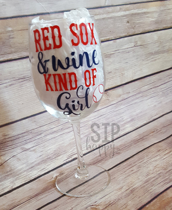 Red Sox & Wine Kind of Girl Wine Glass