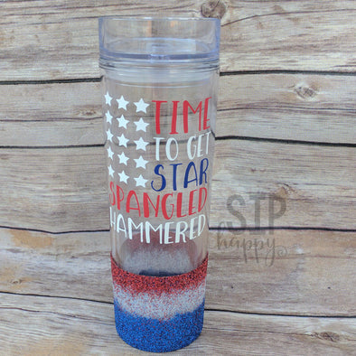 Ready To Ship Star Spangled Hammered Tumbler