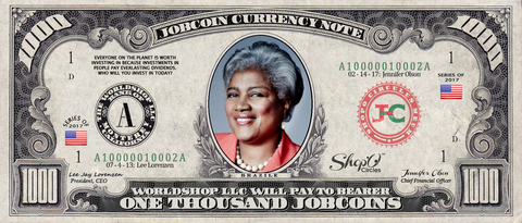 Twitter Celebrity:  Collect the Donna Brazile 1,000 JobCoin™ Note