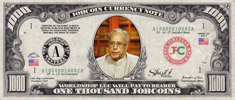 World Leaders:  Collect the Pranab Mukherjee 1,000 JobCoin™ Note
