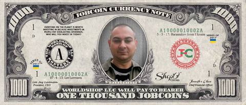 ShopO Leader: Collect the Barannikov_from_Ukraine 1,000 JobCoin Note